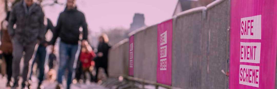 safe event scheme crowd fence banner